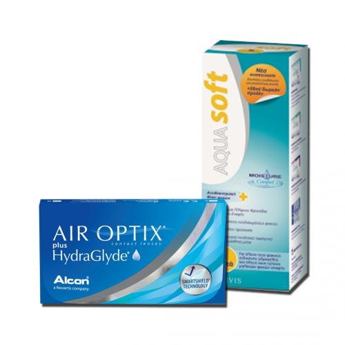 Air Optix plus Hydraglyde 4 Φακοί Επαφής & AquaSoft 250ml | Φακοί
