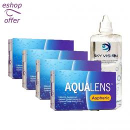 AquaLens Aspheric 3pack - 4 κουτιά (12 φακοί) & SkyVision 360ml